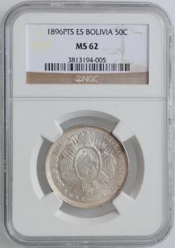 """Боливия 50 сентаво 1896 г. PTS ES, NGC MS62, """"Республика Боливия (1870 - 1963)"""""""