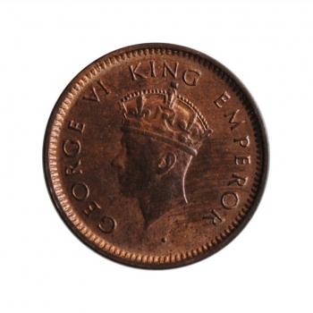 """Индия - Британская 1/12 анна 1939 г., UNC, """"Король Георг VI (1938 - 1947)"""" FIRST HEAD"""