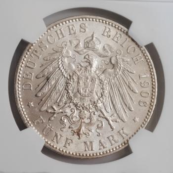 Бремен 5 марок 1906 г., NGC MS64, 'Свободный город (1871 - 1918)'