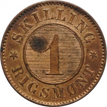 "Дания 1 скиллинг 1867 г., UNC, ""Король Кристиан IX (1863 - 1906)"""