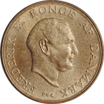 """Дания 2 кроны 1958 г. C, UNC, """"Король Фредерик IX (1947 - 1972)"""""""