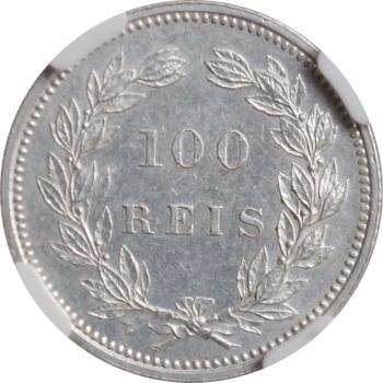 """Португалия 100 рейсов 1898 г., NGC MS62, """"Король Карлуш I (1889 - 1908)"""""""