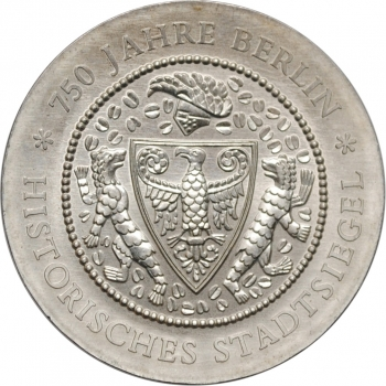 "ГДР 20 марок 1987 г., UNC, ""750 лет Берлину"""