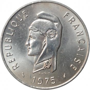 """Французские Афар и Исса 100 франков 1975 г., UNC, """"Заморская территория Франции (1968 - 1975)"""""""