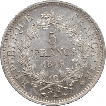 """Франция 5 франков 1849 г. A, UNC, """"Геркулес"""""""