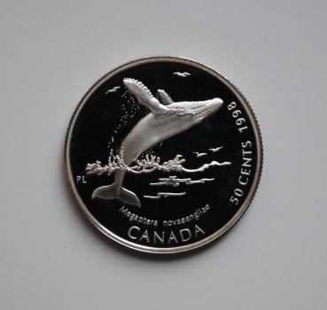 Канада 50 центов 1998 г., PROOF, 'Гиганты океана - Горбатый кит'