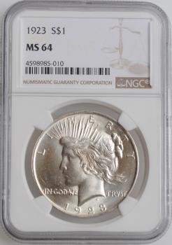 "США 1 доллар 1923 г., NGC MS64, ""Мирный доллар"""