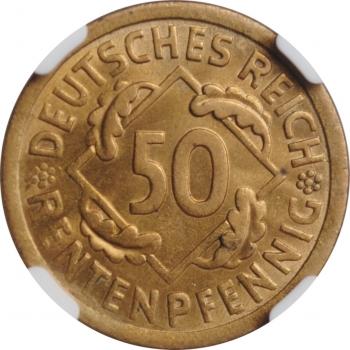 """Германия 50 рентенпфеннигов 1924 г. A, NGC MS64, """"Веймарская Республика (Рентенмарка) (1923 - 1929)''"""