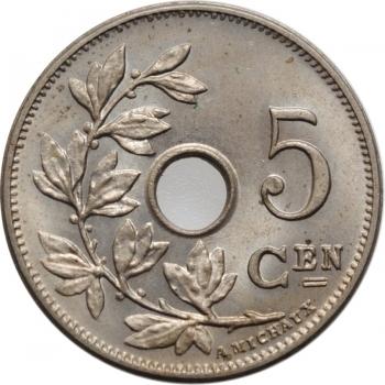 """Бельгия 5 сантимов 1904 г., BU BELGIË, """"Король Леопольд II (1865 - 1909)"""""""