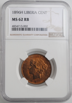 "Либерия 1 цент 1896 г. H, NGC MS62 RB, ""Республика Либерия (1847 - 1906)"""