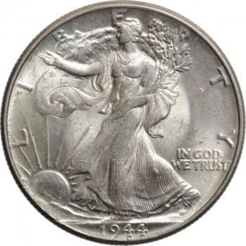 """США 50 центов 1944 г., BU, """"Шагающая свобода пол доллара"""""""