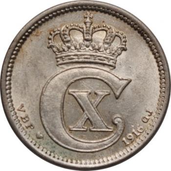 """Дания 10 эре 1916 г. VBP, UNC, """"Король Кристиан X (1912 - 1947)"""""""