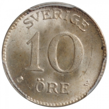 "Швеция 10 эре 1919 г. W, PCGS MS65, ""Король Густав V (1908 - 1950)"""