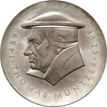 """ГДР 20 марок 1989 г., UNC, """"500 лет со дня рождения Томаса Мюнцера"""""""