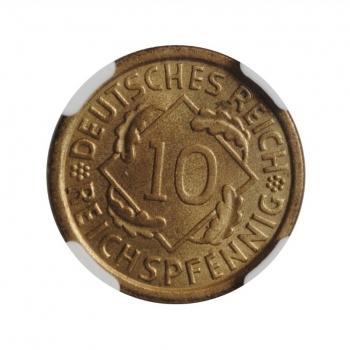 """Германия 10 рейхспфеннигов 1935 A, NGC MS66, """"Веймарская Республика (1923 - 1929)"""""""