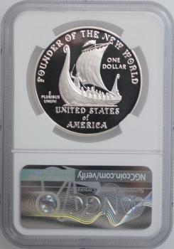 """США 1 доллар 2000 г., NGC PF69, """"Лейф Эрикссон"""""""