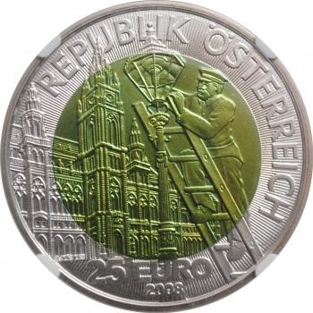 """Австрия 25 евро 2008 г., NGC MS69, """"Искусственное освещение"""""""