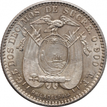 "Эквадор 2 десимо 1914 г. TF, AU, ""Маршал Аякучо Антонио Хосе Сукре (1795 - 1830)"""