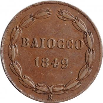 """Папская область 1 байокко 1849 г. IV R, XF, """"Папа Пий IX (1846 - 1878)"""""""
