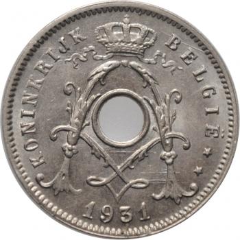 """Бельгия 5 сантимов 1931 г., BU BELGIË, """"Король Альберт I (1910 - 1934)"""" /со звездой/"""