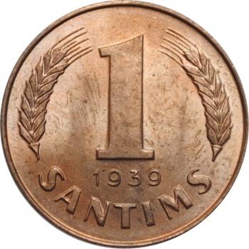 """Латвия 1 сантим 1939 г., BU, """"Первая Республика (1922 - 1940)"""""""