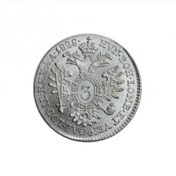 "Австрия 3 крейцера 1828 г. A, BU, ""Император Франц II (1792 - 1835)"""