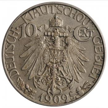 "Цзяо-Чжоу 10 центов 1909 г., XF, ""Германская колония (1909 - 1909)'"