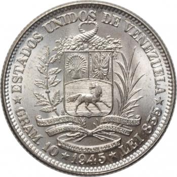 """Венесуэла 2 боливара 1945 г., BU, """"Соединенные Штаты Венесуэлы (1879 - 1952)"""""""