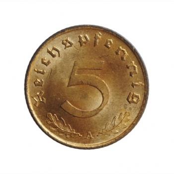 """Германия - Третий рейх 5 рейхспфеннигов 1939 г. A, BU, """"Нацистская Германия (1933 - 1945)"""""""
