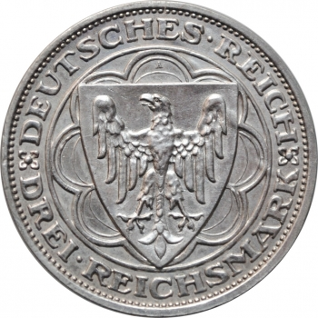 """Веймар 3 рейхсмарки 1931 г., XF, """"300-я годовщина разорения Магдебурга"""""""