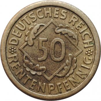 """Германия 50 рентенпфеннигов 1924 г. J, UNC, """"Веймарская Республика (Рентенмарка) (1923 - 1929)''"""
