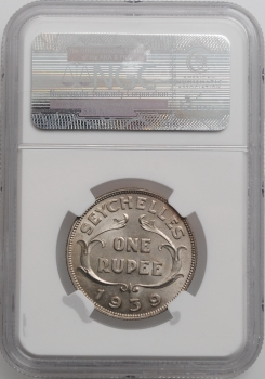 "Сейшелы 1 рупия 1939 г., NGC MS62, ""Король Георг VI (1939 - 1952)"""