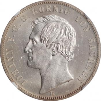 """Саксония 1 союзный талер 1871, NGC MS63, """"Победа над Францией"""""""