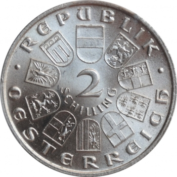 """Австрия 2 шиллинга 1932 г., PCGS MS62, """"200 лет со дня рождения Йозефа Гайдна"""""""