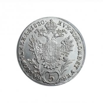 """Австрия 5 крейцеров 1820 г. A, UNC, """"Император Франц II (1792 - 1835)"""""""