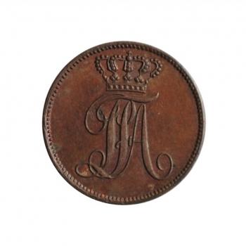 """Ольденбург 1 шварен 1852 г., UNC, """"Герцог Август I (1829 - 1853)"""""""