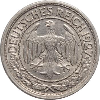 """Германия 50 рейхспфеннигов 1927 г. D, AU, """"Веймарская Республика (Рейхсмарка) (1924 - 1938)"""""""