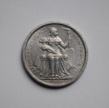 Новая Каледония 1 франк 1949 г., XF-UNC, 'Заморское сообщество Франции (1949 - 2017)'