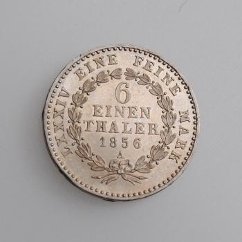 """Ангальт 1/6 талера 1856 г., UNC, """"Герцог Александр Карл (1834 - 1863)"""""""