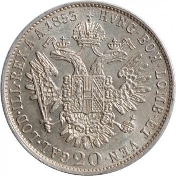 """Австрия 20 крейцеров 1853 г., UNC, """"Император Франц Иосиф (1848 - 1916)"""""""