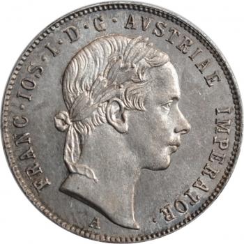"""Австрия 20 крейцеров 1853 г. A, BU, """"Император Франц Иосиф (1848 - 1916)"""""""