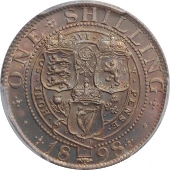 "Великобритания 1 шиллинг 1898 г., PCGS MS64, ""Королева Виктория (1838 - 1901)"""