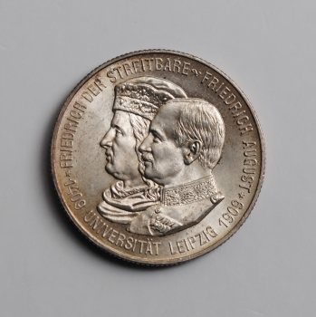 Саксония 2 марки 1909 г., UNC, '500 лет Лейпцигскому университету'