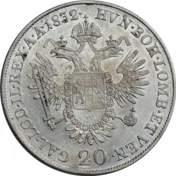 "Австрия 20 крейцеров 1832 г. A, AU, ""Император Франц II (1806- 1835)"""