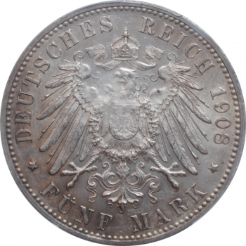 """Вюртемберг 5 марок 1908 г., PCGS AU58, """"Король Вильгельм II (1891 - 1918)"""""""