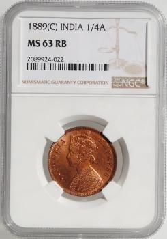 """Индия - Британская 1/4 анна 1889 г., NGC MS63 RB, """"Королева Виктория (1862 - 1901)"""""""