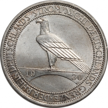 """Веймар 3 рейхсмарки 1930 г. D, UNC, """"Освобождение Рейнской области (Рейнланда)"""""""