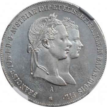 """Австрия 1 гульден 1854 г., NGC MS62+, """"Свадьба Императора Франца Иосифа"""""""
