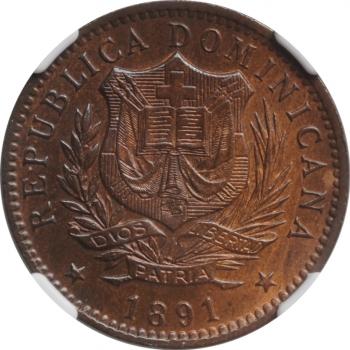 """Доминикана 10 сентесимо 1891 г., NGC MS64 BN, """"Доминиканская Республика (1844 - 1897)"""""""