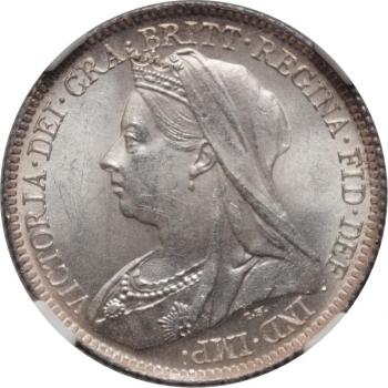 """Великобритания 6 пенсов 1901 г., NGC MS64, '""""Королева Виктория (1838 - 1901)"""""""